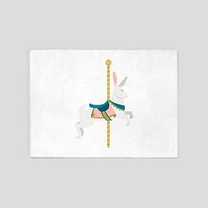 Carousel Rabbit 5'x7'Area Rug