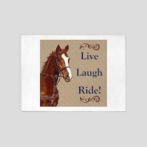 Live! Laugh! Ride! Horse 5'x7'Area Rug