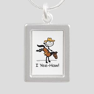 Horse Cowboy Stick Figur Silver Portrait Necklace