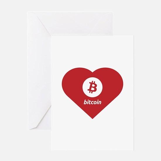 Bitcoin Heart Love Logo Symbol Desi Greeting Cards