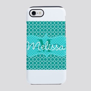 Teal Pattern Personalize Initial and Name iPhone 8