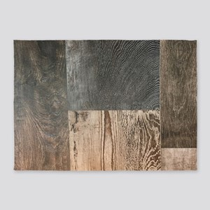 primitive country brown barnwood 5'x7'Area Rug
