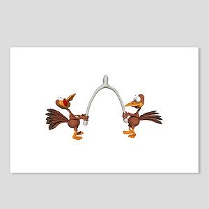 Turkeys Making Wish (Wishbone) Postcards (Package