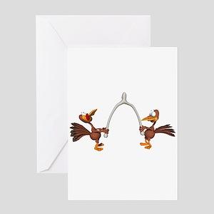Turkeys Making Wish (Wishbone) Greeting Card