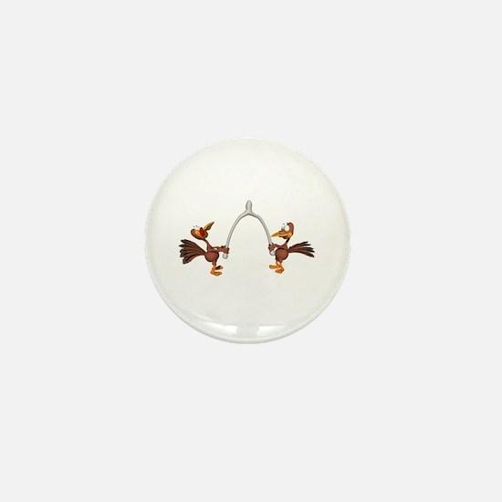 Turkeys Making Wish (Wishbone) Mini Button