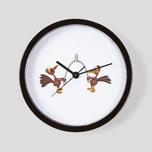 Turkeys Making Wish (Wishbone) Wall Clock