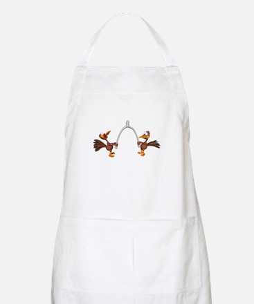 Turkeys Making Wish (Wishbone) BBQ Apron