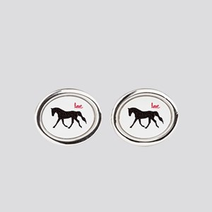 Horse with Hearts Oval Cufflinks