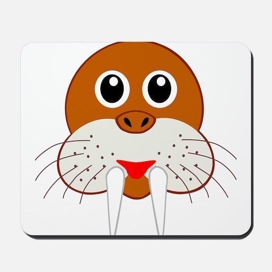 Cute Cartoon Walrus Head Mousepad