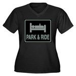 Park and Ride Women's Plus Size V-Neck Dark T-Shir