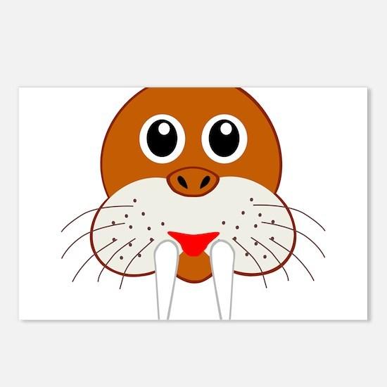 Cute Cartoon Walrus Head Postcards (Package of 8)