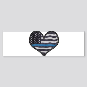 Thin Blue Line Heart Bumper Sticker