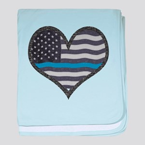 Thin Blue Line Heart baby blanket