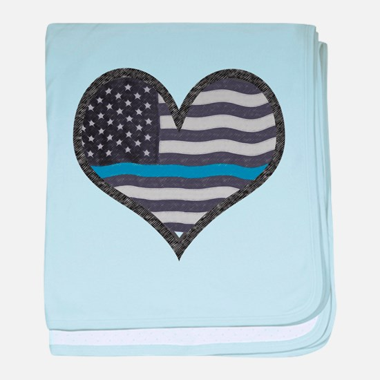 Thin Blue Line Heart baby blanket