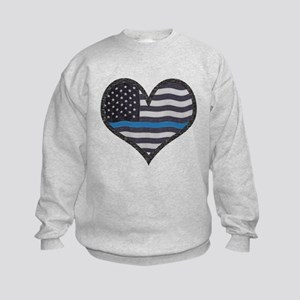 Thin Blue Line Heart Kids Sweatshirt