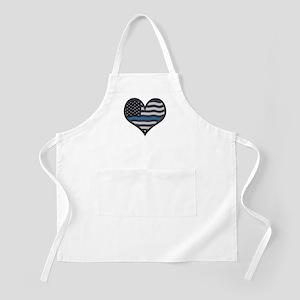 Thin Blue Line Heart Apron