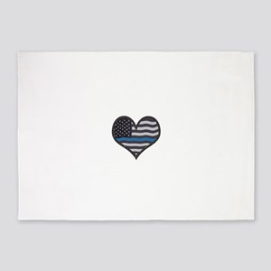 Thin Blue Line Heart 5'x7'Area Rug