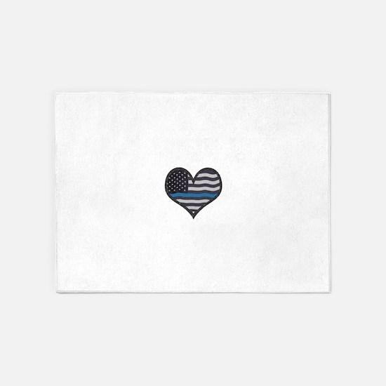 Thin Blue Line Heart 5'x7'Area Rug