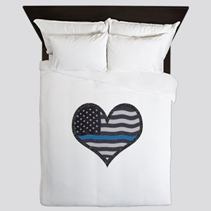 Thin Blue Line Heart Queen Duvet