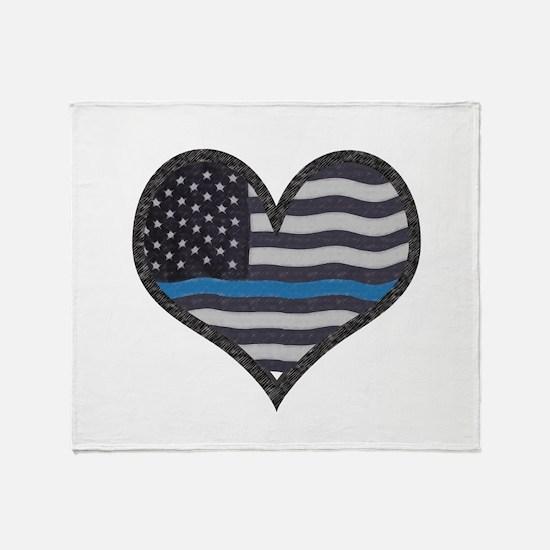 Thin Blue Line Heart Throw Blanket
