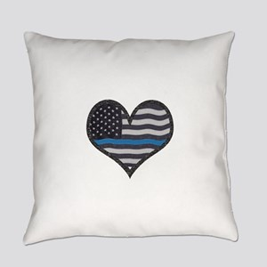 Thin Blue Line Heart Everyday Pillow
