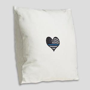 Thin Blue Line Heart Burlap Throw Pillow