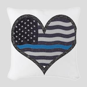 Thin Blue Line Heart Woven Throw Pillow