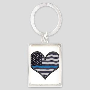 Thin Blue Line Heart Keychains