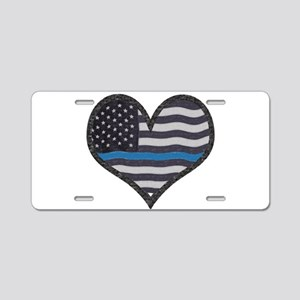 Thin Blue Line Heart Aluminum License Plate