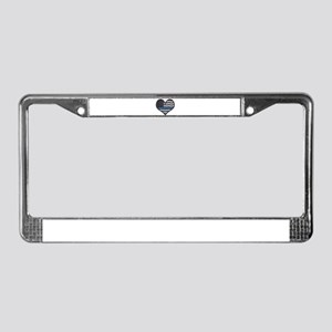 Thin Blue Line Heart License Plate Frame