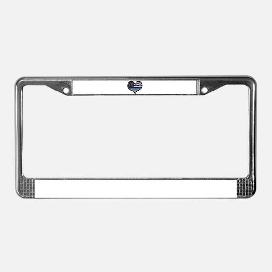Thin Blue Line Heart License Plate Frame