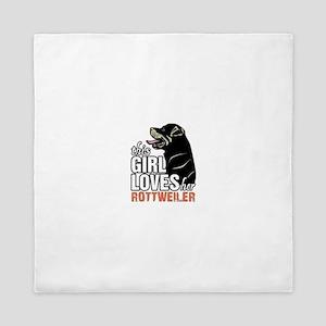 This Girl Loves Her Rottweiler Queen Duvet