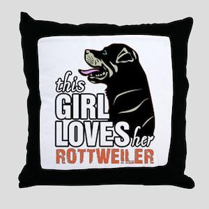 This Girl Loves Her Rottweiler Throw Pillow