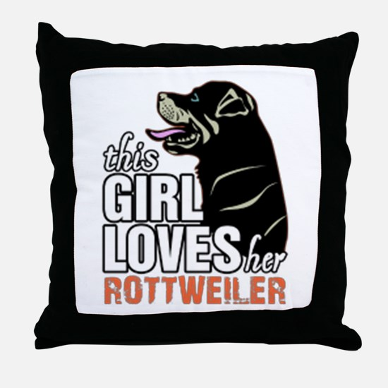 This Girl Loves Her Rottweiler Throw Pillow