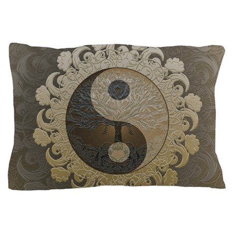 yin yang in tan colors with tree of li pillow case by admin cp24592259. Black Bedroom Furniture Sets. Home Design Ideas