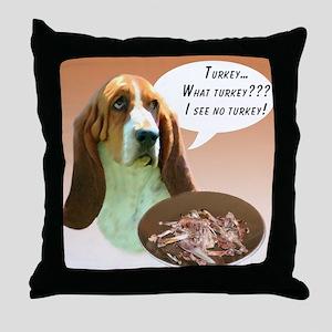 Basset Hound Turkey Throw Pillow