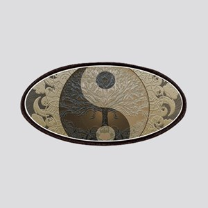 Yin Yang in tan colors with tree of life. Patch
