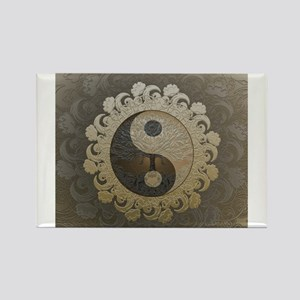 Yin Yang in tan colors with tree of life. Magnets