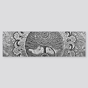 Shiny Metallic Tree of Life Yin Yan Bumper Sticker
