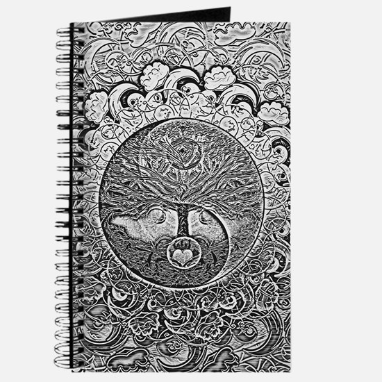 Shiny Metallic Tree of Life Yin Yang Journal