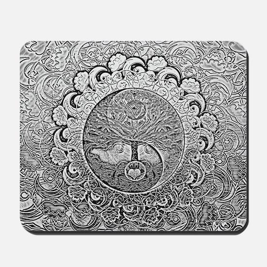 Shiny Metallic Tree of Life Yin Yang Mousepad
