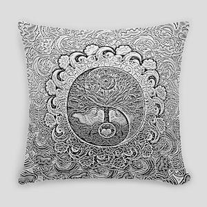 Shiny Metallic Tree of Life Yin Ya Everyday Pillow