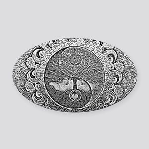 Shiny Metallic Tree of Life Yin Ya Oval Car Magnet