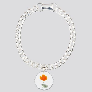 orange poppy Charm Bracelet, One Charm