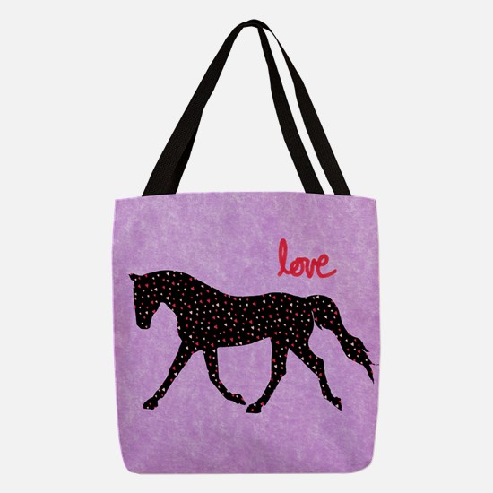 Horse Love and Hearts Polyester Tote Bag