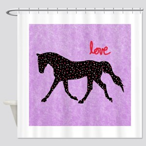Horse Love and Hearts Shower Curtain
