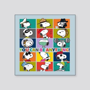 "Snoopy-You Can Be Anything Square Sticker 3"" x 3"""