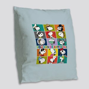 Snoopy-You Can Be Anything Burlap Throw Pillow