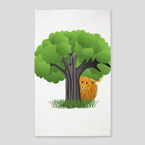 Woolly Moo behind tree Area Rug