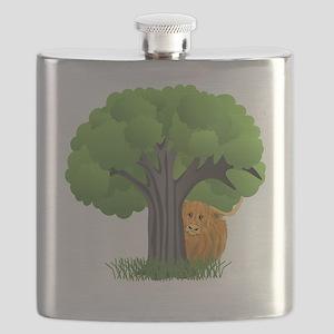 Woolly Moo behind tree Flask